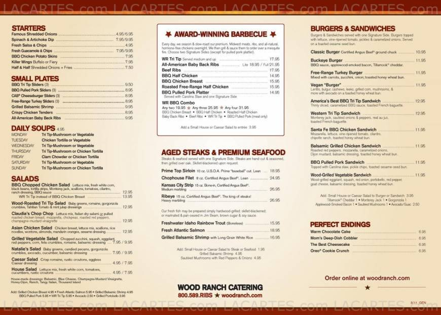 2 Of 7 Price Lists & Menus €  Wood Ranch The Grove, L.A. Los - Wood Ranch Grove WB Designs