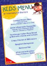 Pricelists of International Starters Restaurant and Rooms