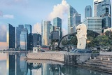 View of central Singapore. Merlion lion fountain sculpture with One Fullerton hotel and financial towers on background. ; Shutterstock ID 433744798; Usage: Both; Issue Date: October 10