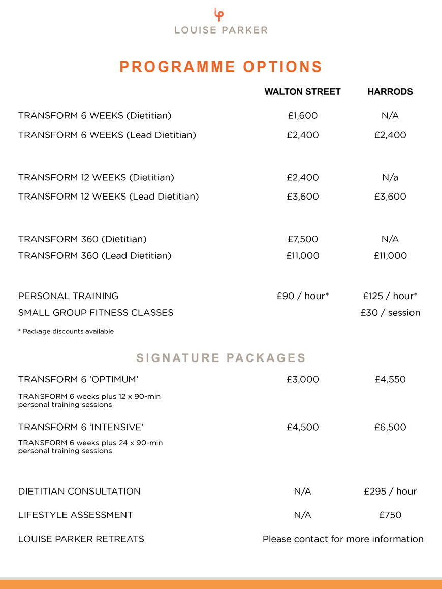 Pricelists of Louise Parker Limited 81 - 83 Walton Street - Photo 3 of 3
