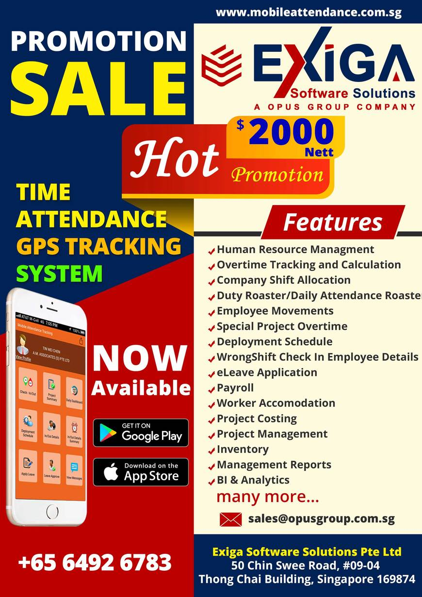 Pricelists of Mobile Time Attendance Tracking Solutions 50 Chin Swee Road, #09-04, Thong Chai Building, Singapore 169874 - Photo 7 of 10