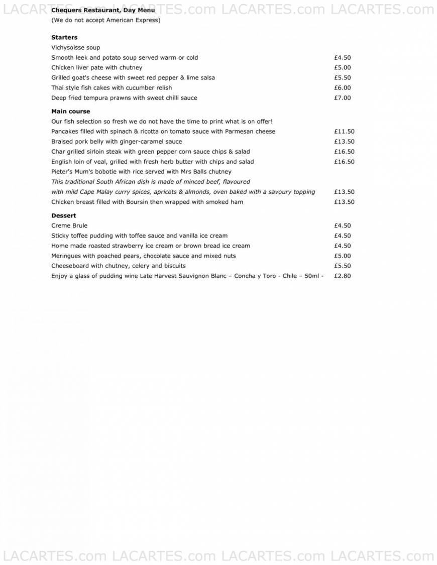 Pricelists of Chequers Bar Restaurant The Chequers, Golf Road - Photo 3 of 6