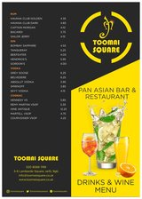 Pricelists of Toomai Square Pan Asian Family Restaurant