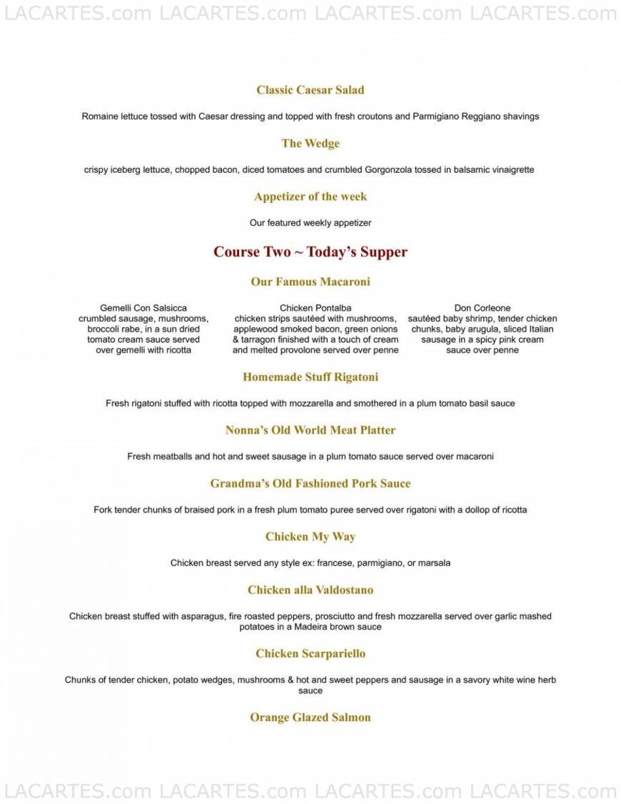Ciao Baby Restaurant Massapequa Price Lists Page 8 of 10 
