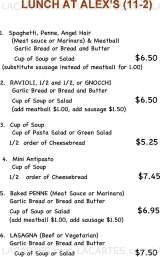 Pricelists of Alex DiPeppe's Italian Restaurant