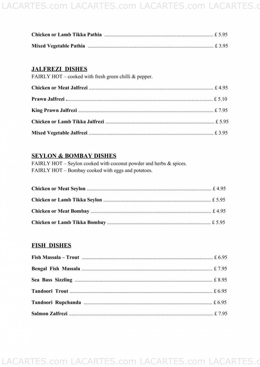 Blue Ginger Indian Restaurant New Barnet Price Lists Page 8 of 14
