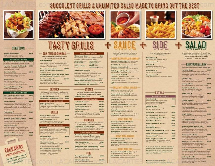 Harvester Restaurant Menu And Prices