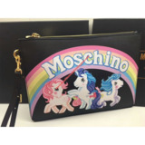 Moschino My Little Pony Women Large Leather Clutch Black