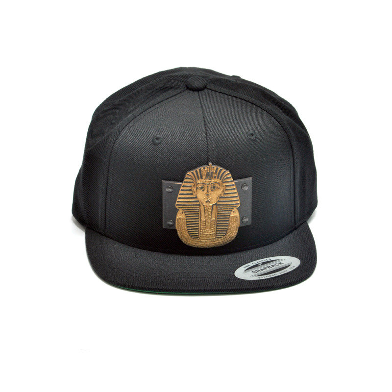 King Tut Wood Charm Black Snapback Hat