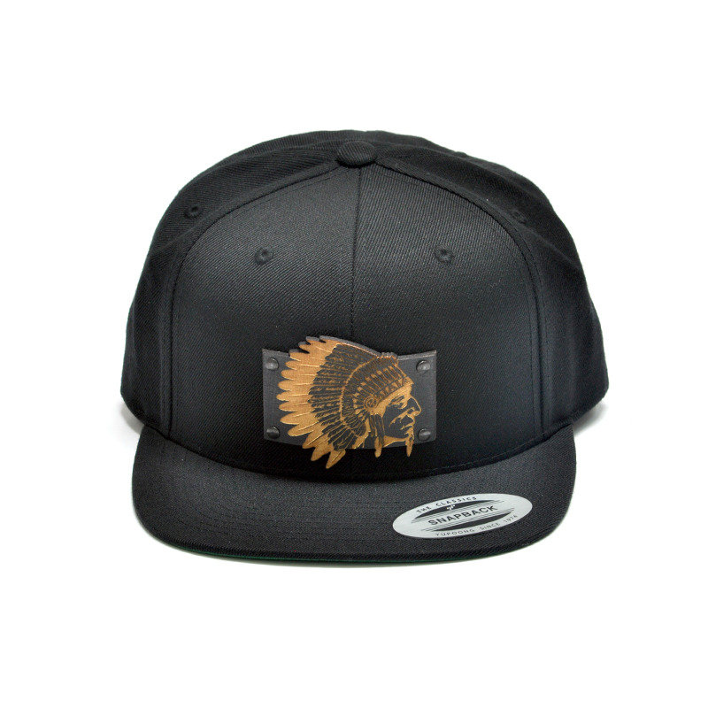 The Chief Wood Charm Black Snapback Hat