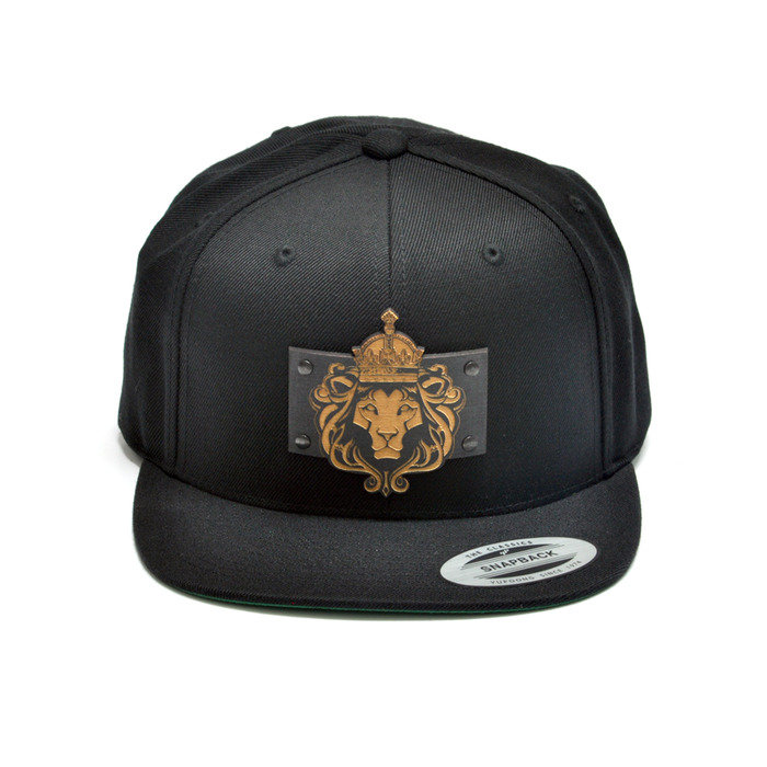 King Lion Wood Charm Black Snapback Hat