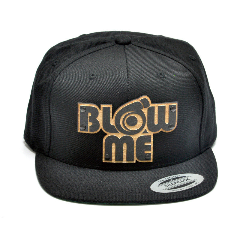 Blow Me Wood Charm Black Snapback Hat