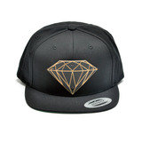 Diamond Sign Wood Charm Black Snapback Hat