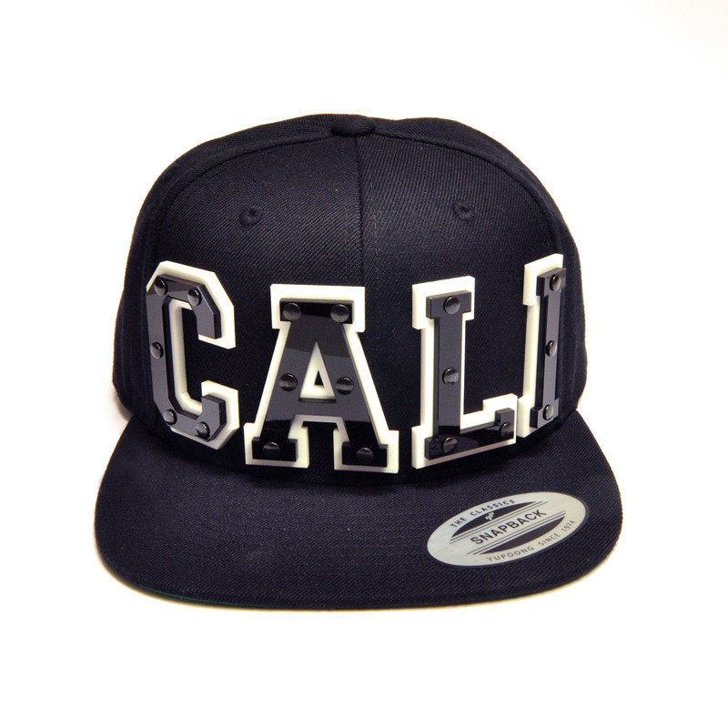 CALI - Black Acrylic letters on Black Snapback Hat