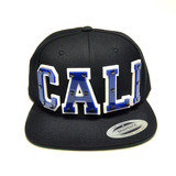 CALI - Blue Acrylic letters on Black Snapback Hat