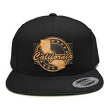 Map of California  Wood Charm Black Snapback Hat