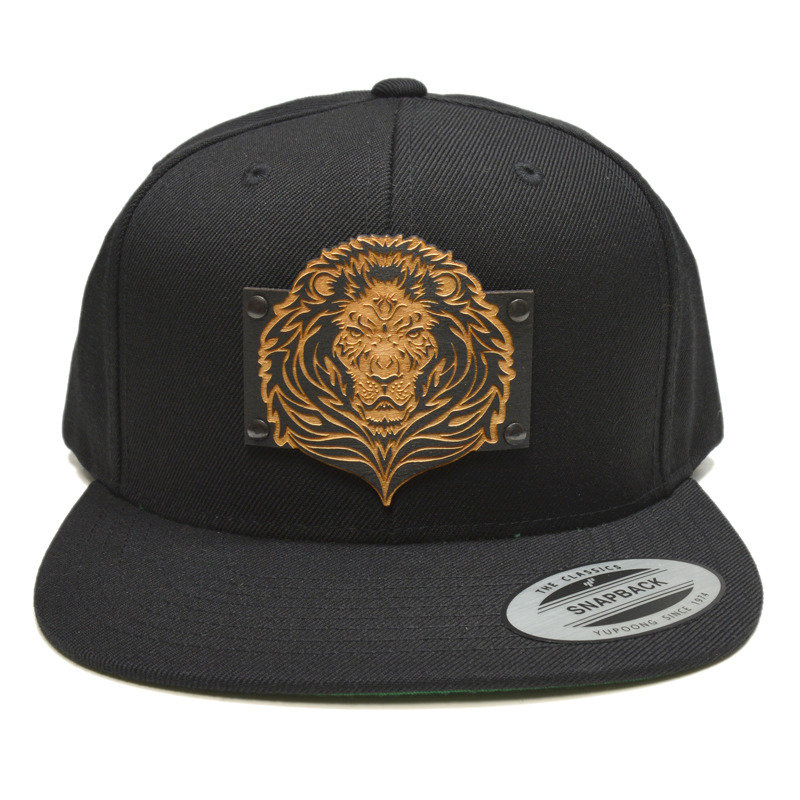 Lion Wood Charm Black Snapback Hat