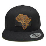 Map Of Africa Wood Charm Black Snapback Hat