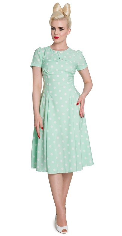 Hell Bunny Vintage Inspired Polka Dot Mint Madden Dress - Plus Size