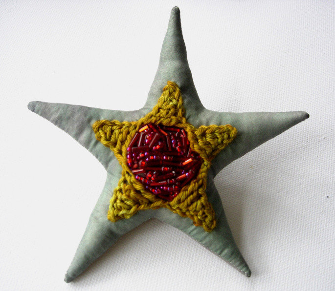 Grey/Mustard/Red Silk Brooch
