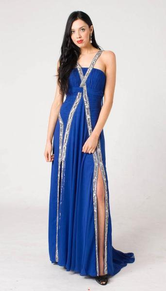E107 UNIQUE CHIC FORMAL DRESS - ROYAL BLUE