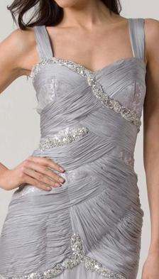 E114 SILK, LACE AND JEWELS EVENING DRESS - SILVER