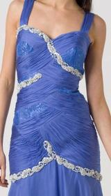 E114 SILK, LACE AND JEWELS EVENING DRESS - BLUE