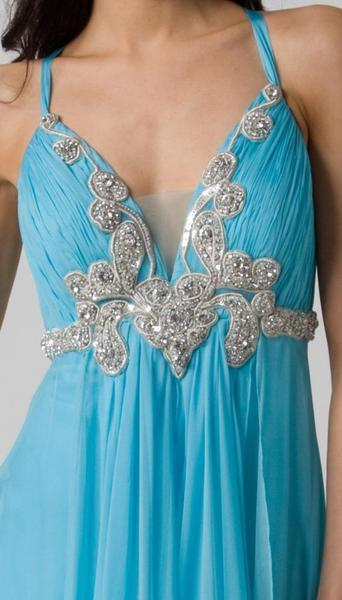 E115 GRACEFUL GODDESS EVENING GOWN - BLUE