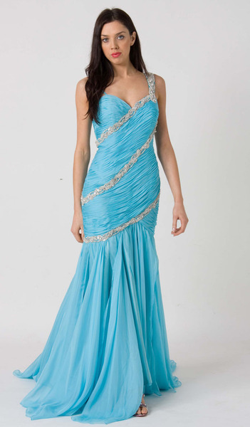 E116 MESMERIZING SWEETHEART FORMAL GOWN - LIGHT BLUE