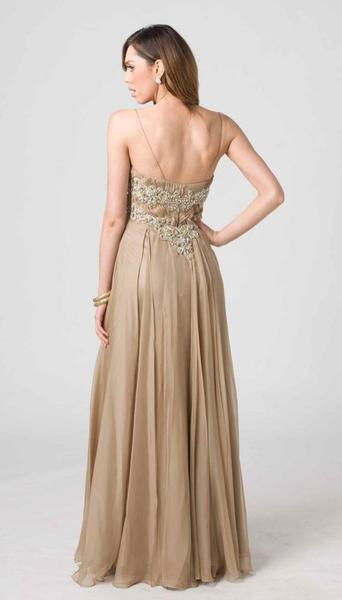 E202 FLOWING GOLDEN ELEGANCE GOWN