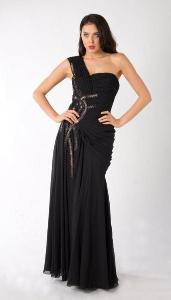 E320 RUCHED GLAMOROUS LUXURY FORMAL DRESS - BLACK