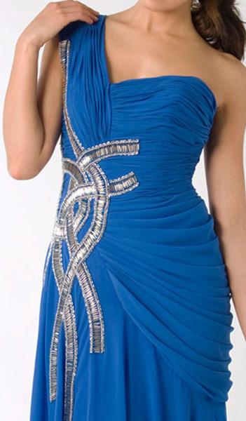E320 RUCHED GLAMOROUS LUXURY FORMAL DRESS - BLUE