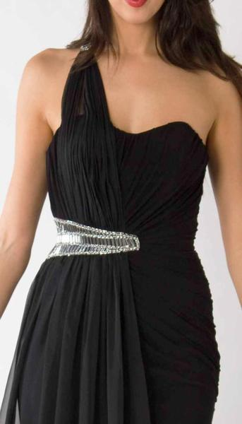 E321 GRECIAN GODDESS EVENING GOWN - BLACK