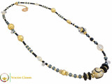 Aida Long Necklace - Black, Gold and Grey