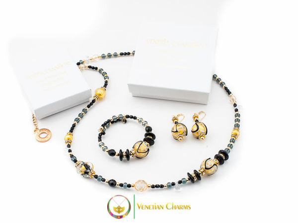 Aida Long Necklace Set - Black, Gold and Grey