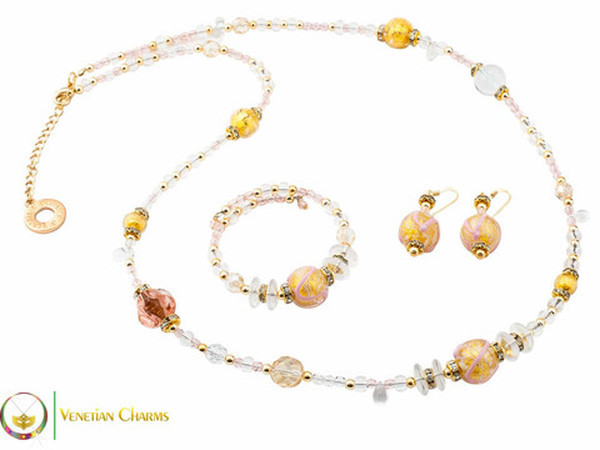 Aida Long Necklace Set - Rose, Gold and White