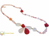 Amaryllis Long Necklace - Pink & Red