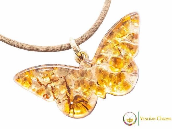 Butterfly Pendant - Amber and Gold