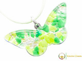 Butterfly Pendant - Green, Lime and Silver