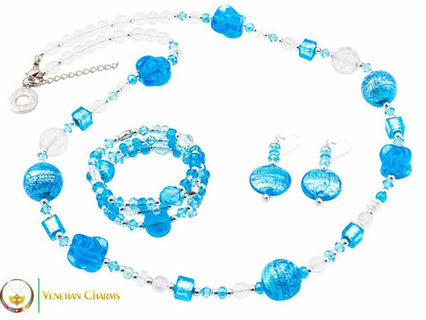 Cheri Long Necklace Set - Blue and Light Blue