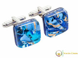Chrome Cufflinks - Blue and Gold