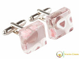 Chrome Cufflinks - Pink and White