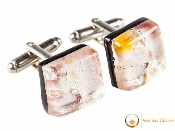 Chrome Cufflinks - Pink, Yellow and White