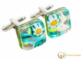 Chrome Cufflinks - Green, White and Yellow