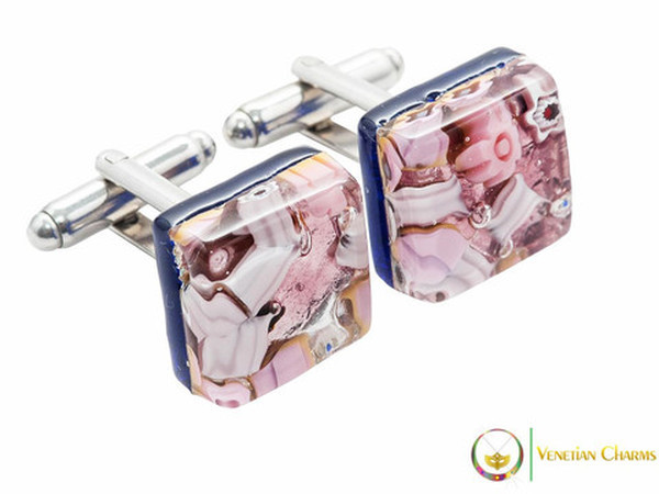 Chrome Cufflinks - Pink