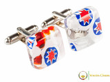 Chrome Cufflinks - Red, White and Blue
