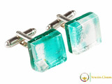 Chrome Cufflinks - Teal and White