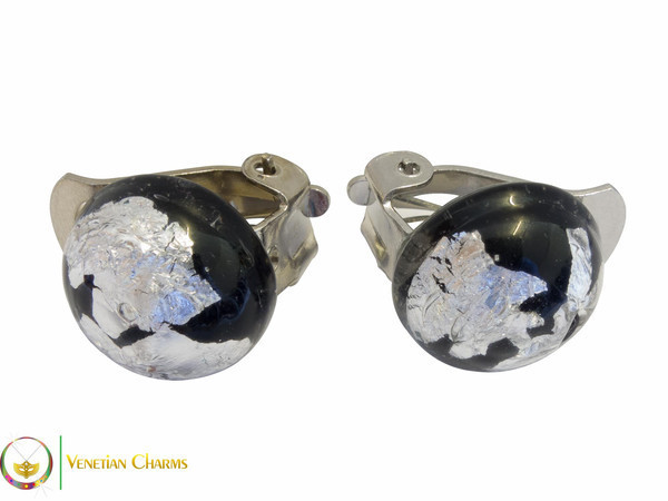 Clip Earrings Small - Black & Silver