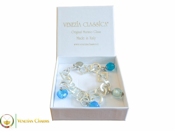 Florence Silver Charm Bracelet - Turquoise