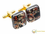 Gold Cufflinks - Amber and Black